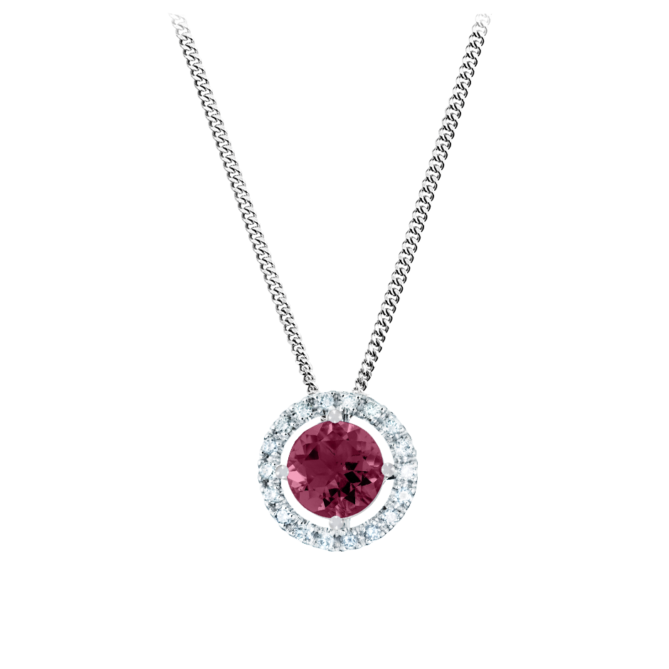 Pendant Halo Rhodolite red in Platinum