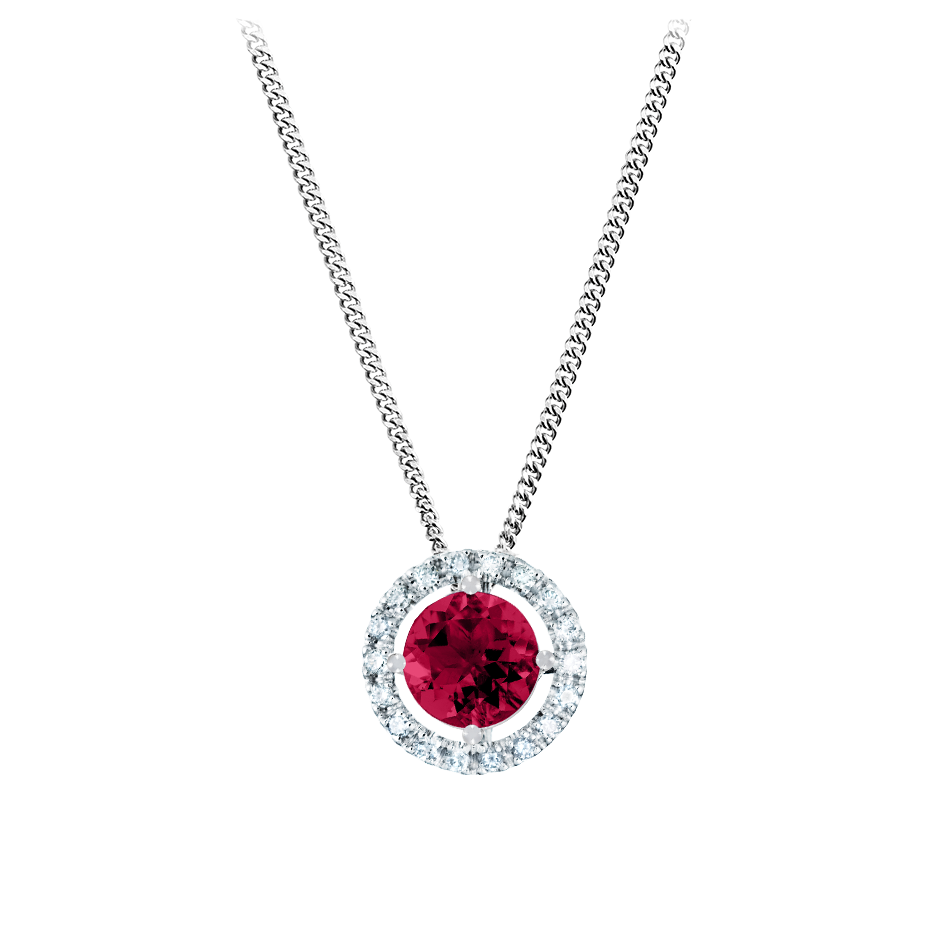 Pendant Halo Ruby red in Platinum