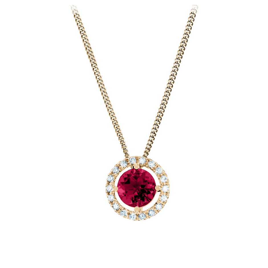 Pendant Halo Ruby red in Rose Gold