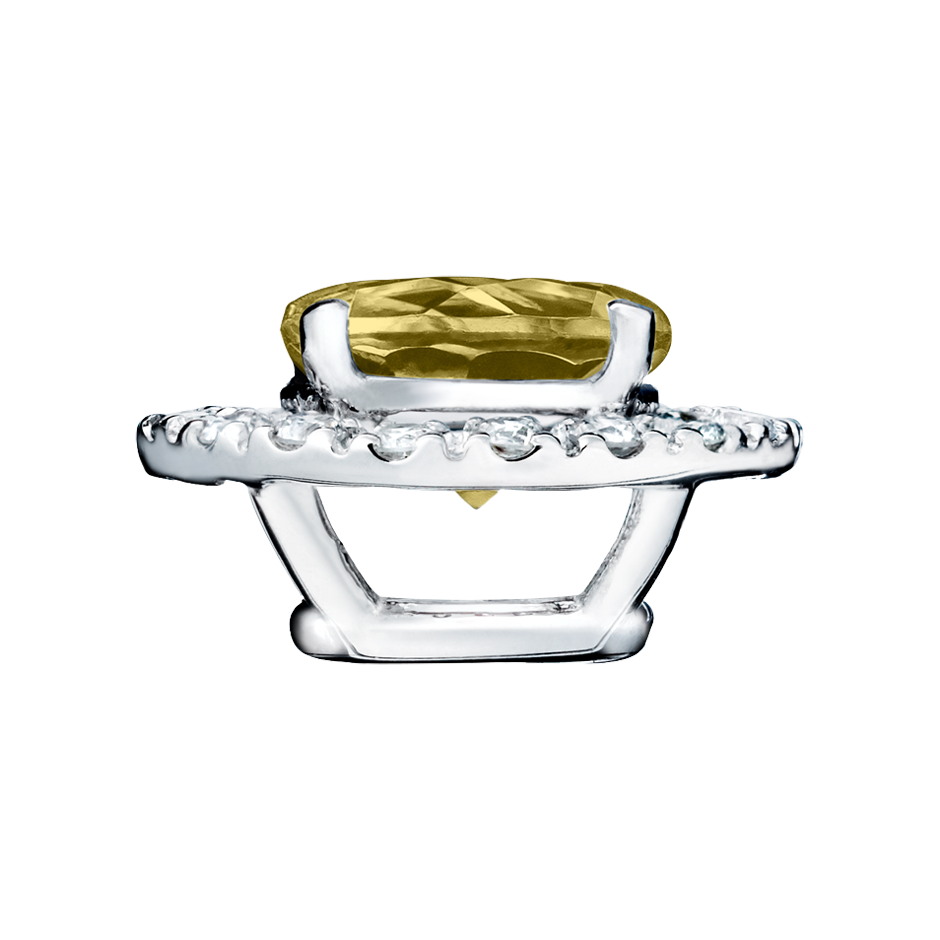 Pendant Halo Sapphire yellow in White Gold
