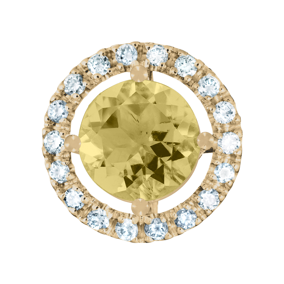 Pendant Halo Sapphire yellow in Yellow Gold