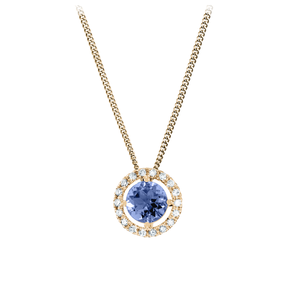 Pendant Halo Tanzanite blue in Rose Gold