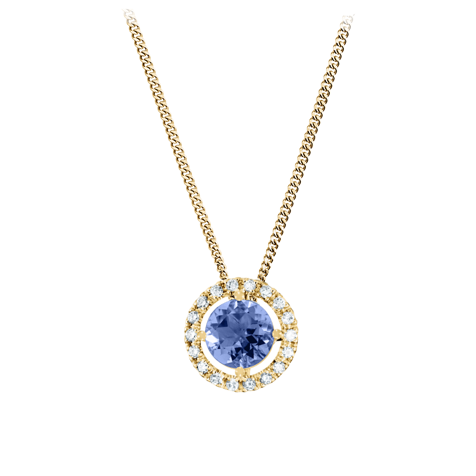 Pendant Halo Tanzanite blue in Yellow Gold