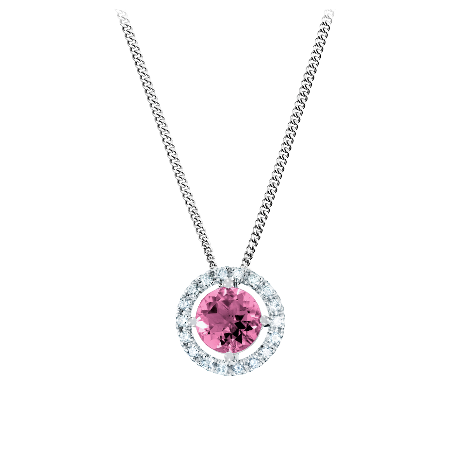Pendant Halo Tourmaline pink in White Gold