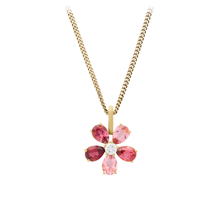 Pendentif Flowers Tourmaline in Or jaune
