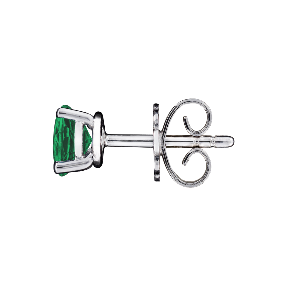 Stud Earrings 3 Prongs Emerald green in Platinum
