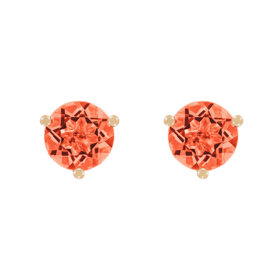 Stud Earrings 3 Prongs Fire Opal orange in Rose Gold