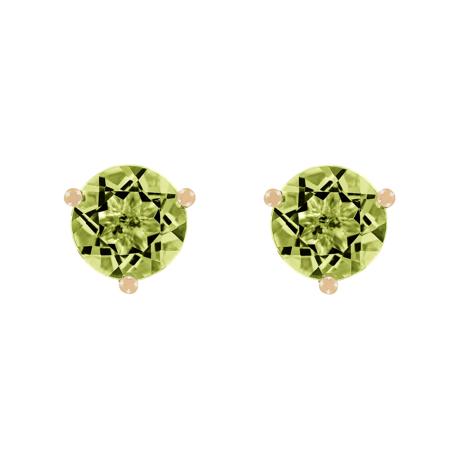 Stud Earrings 3 Prongs Peridot green in Rose Gold