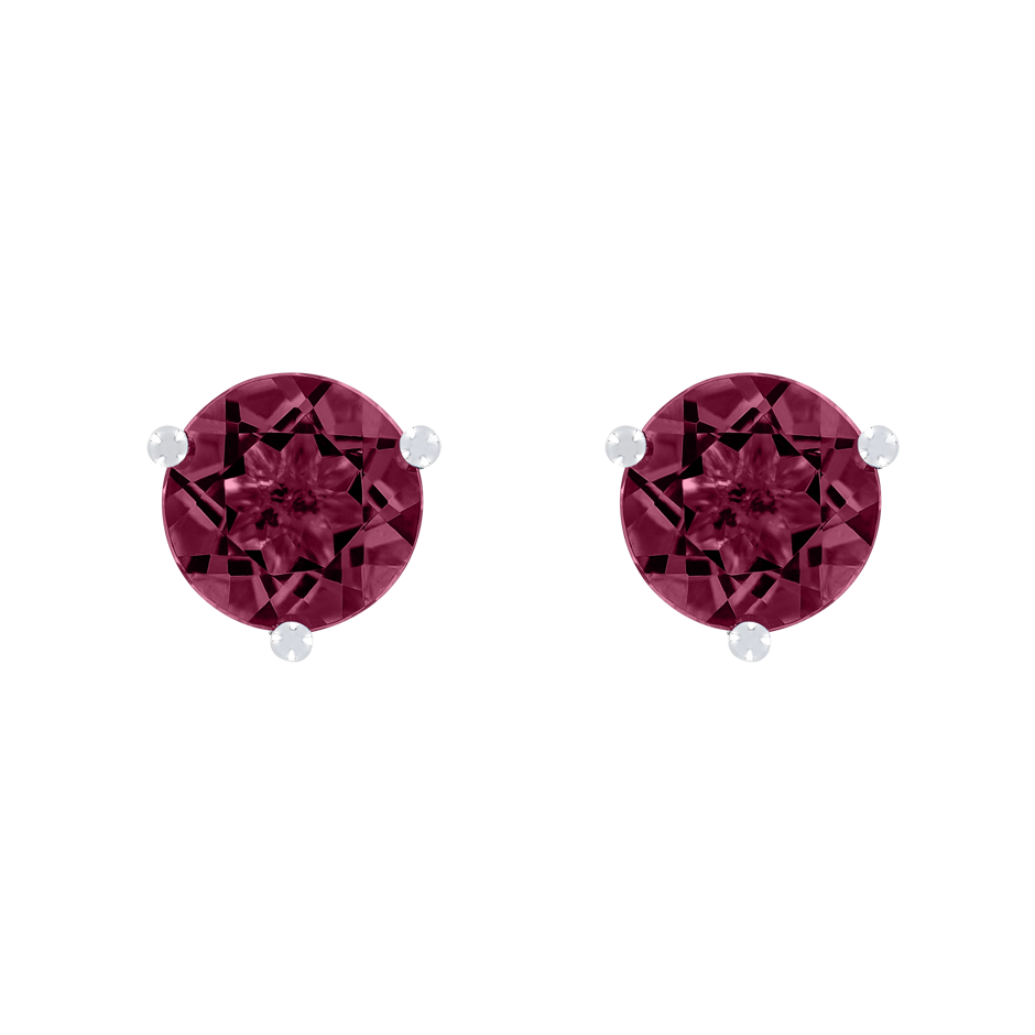 Stud Earrings 3 Prongs Rhodolite red in White Gold