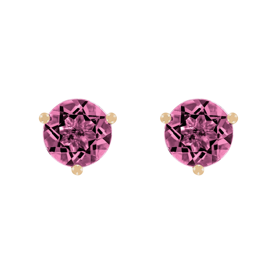 Stud Earrings 3 Prongs Tourmaline pink in Rose Gold