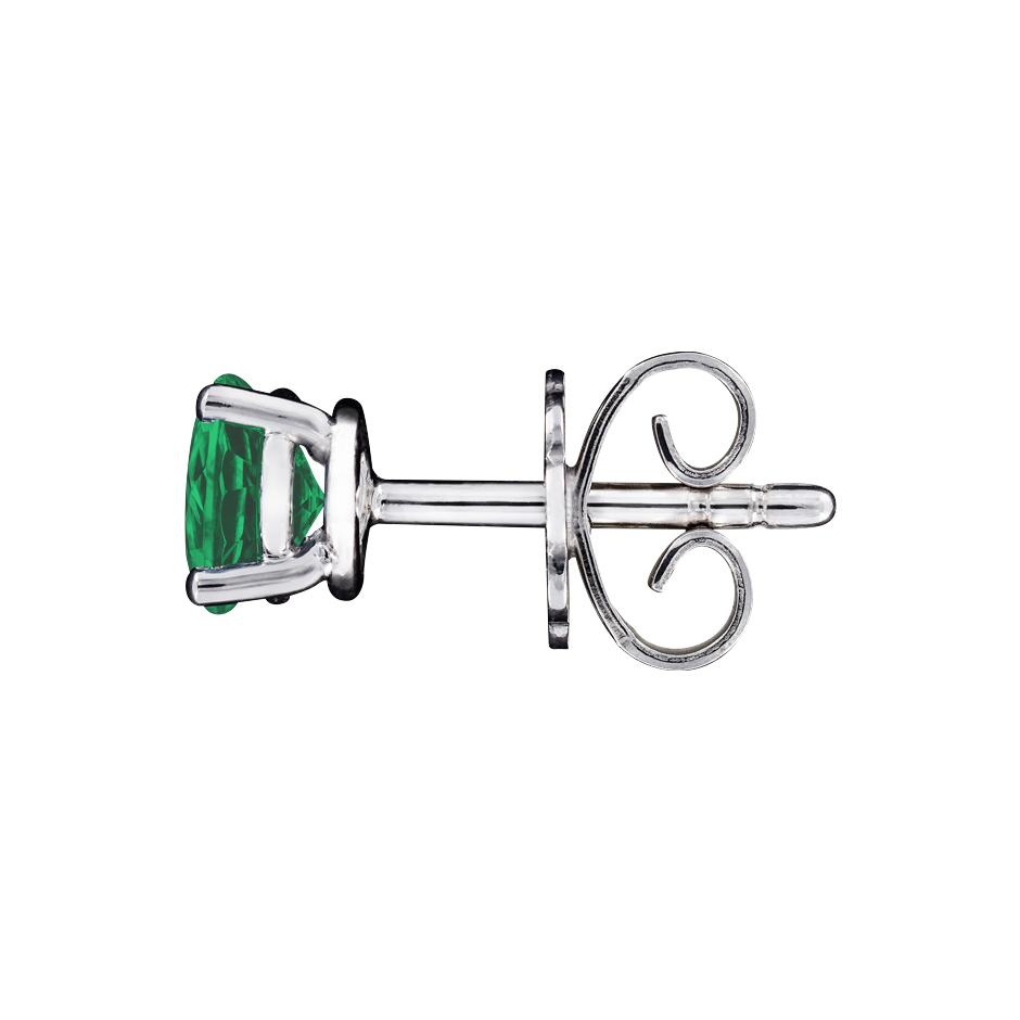 Stud Earrings 4 Prongs Emerald green in Platinum