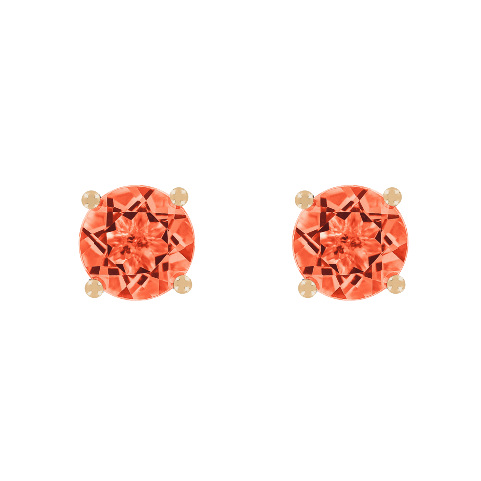 Stud Earrings 4 Prongs Fire Opal orange in Rose Gold