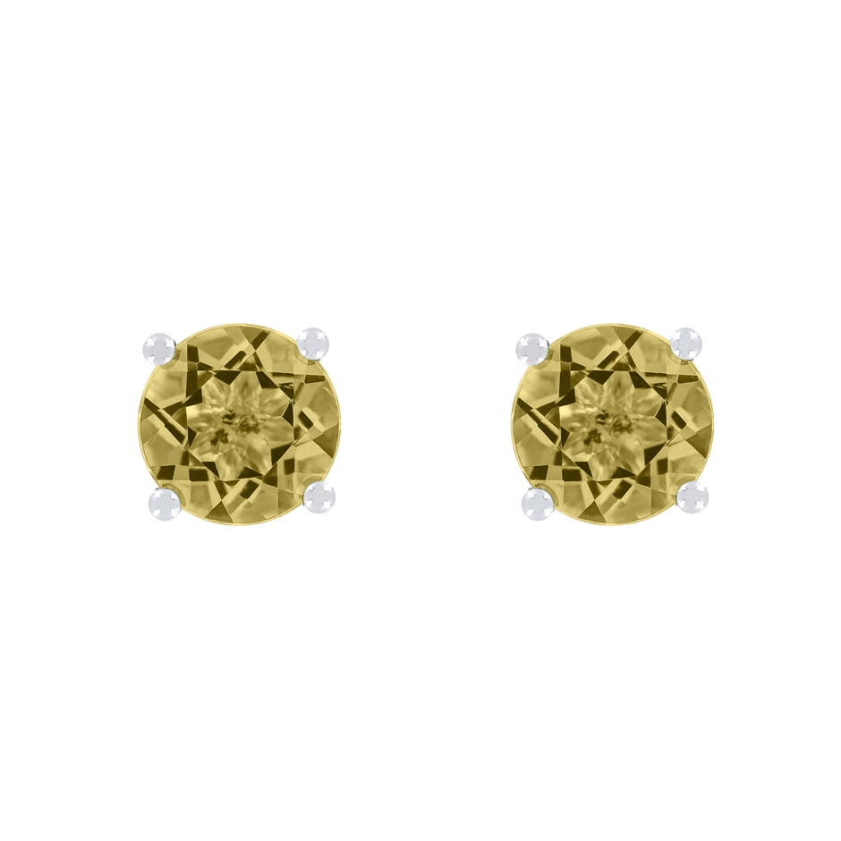Stud Earrings 4 Prongs Sapphire yellow in White Gold