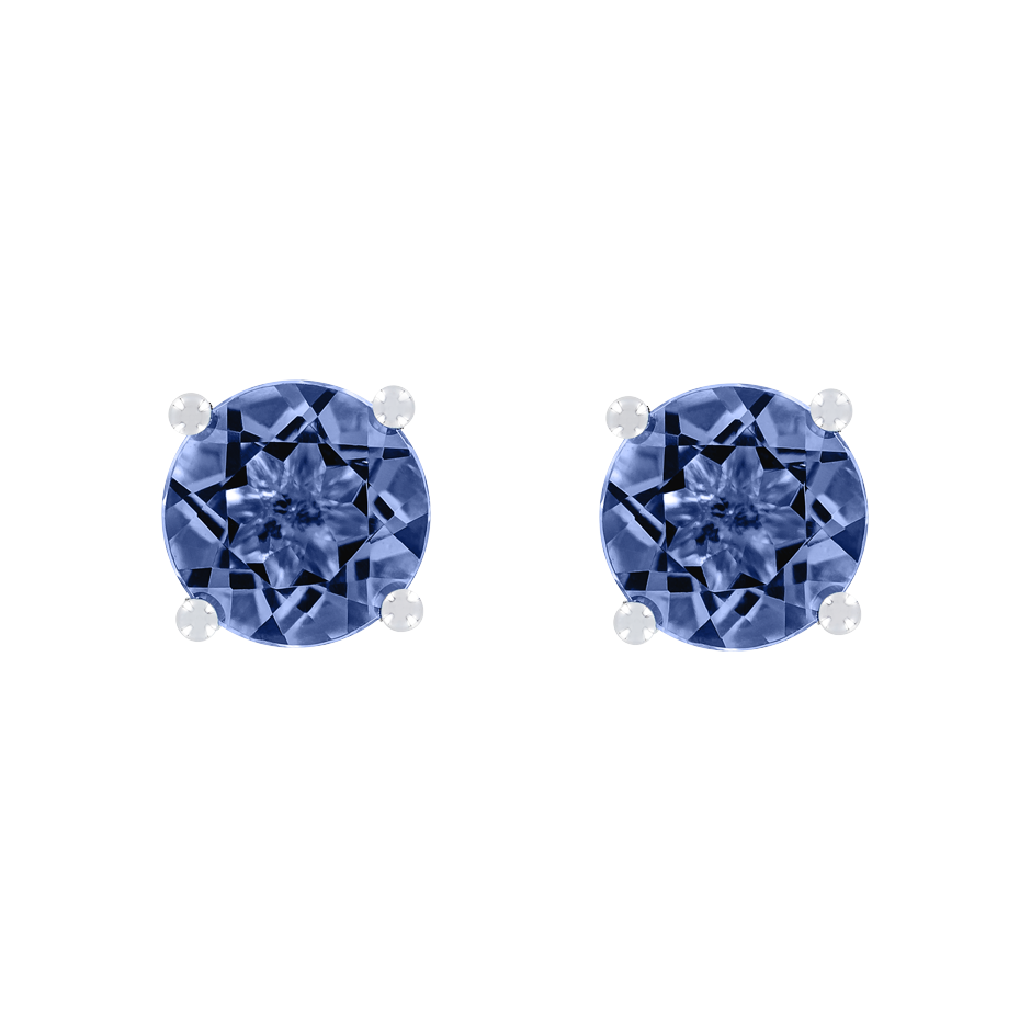 Stud Earrings 4 Prongs Tanzanite blue in Platinum