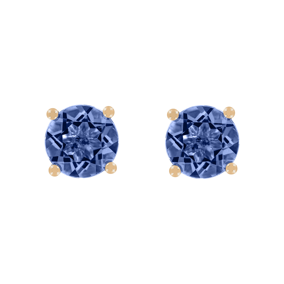 Stud Earrings 4 Prongs Tanzanite blue in Rose Gold