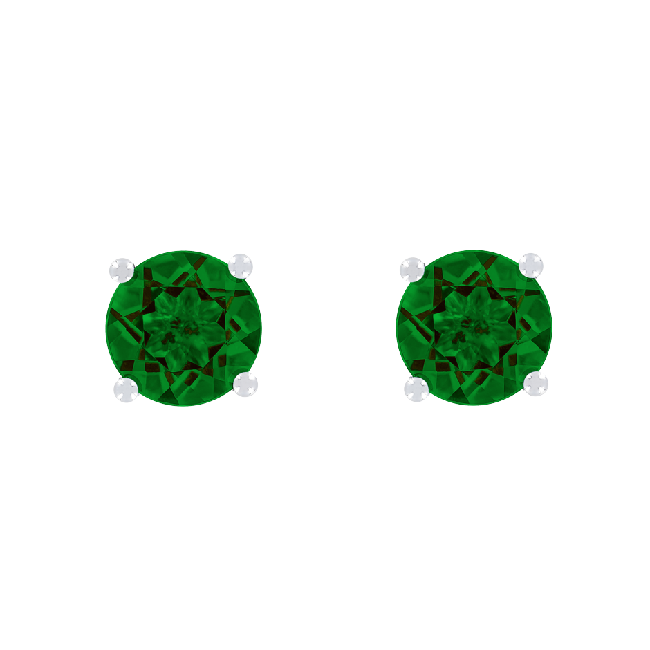 Stud Earrings 4 Prongs Tourmaline green in White Gold