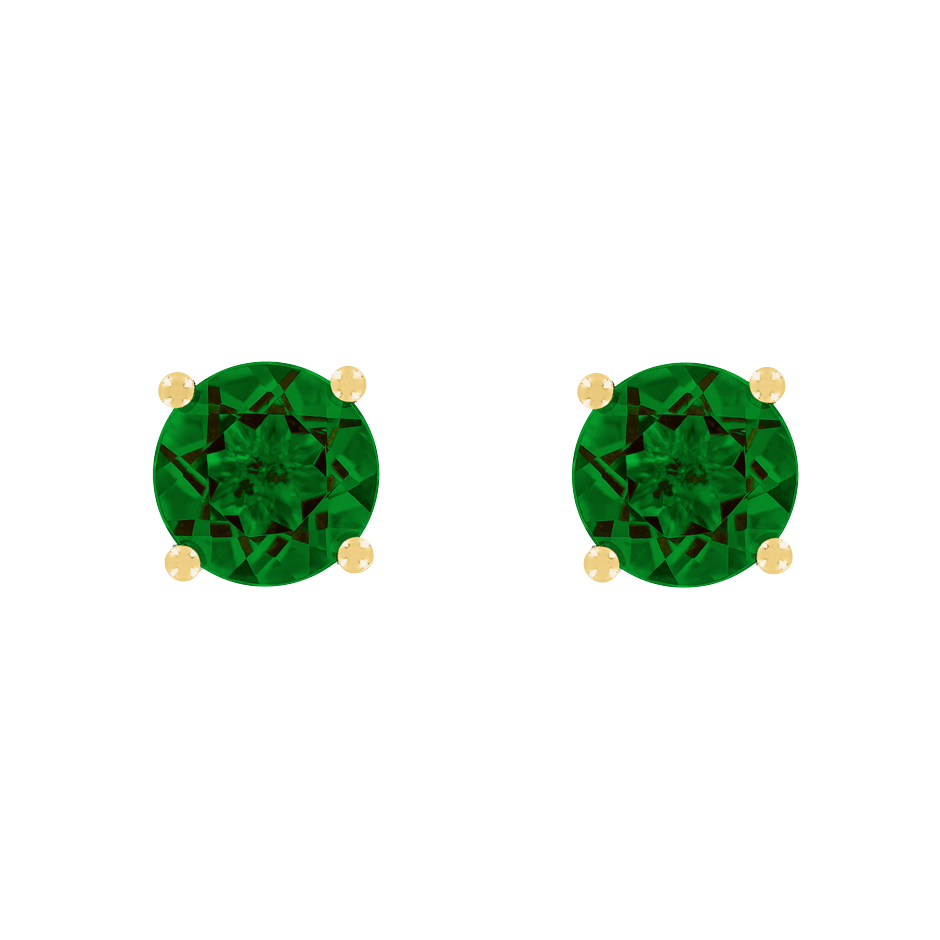 Stud Earrings 4 Prongs Tourmaline green in Yellow Gold