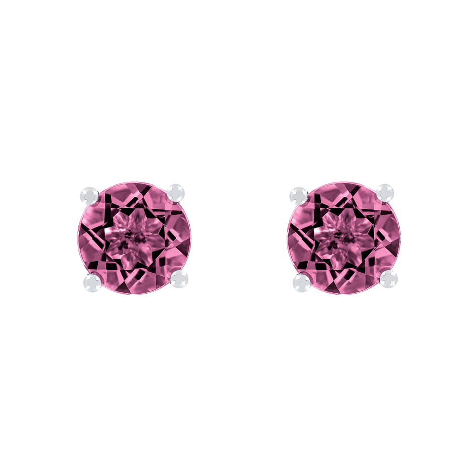 Stud Earrings 4 Prongs Tourmaline pink in Platinum