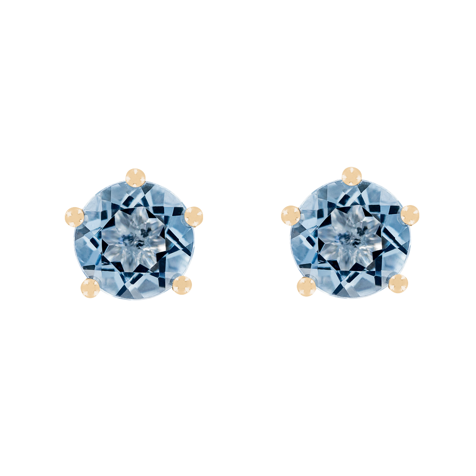 Stud Earrings 5 Prongs Aquamarine blue in Rose Gold