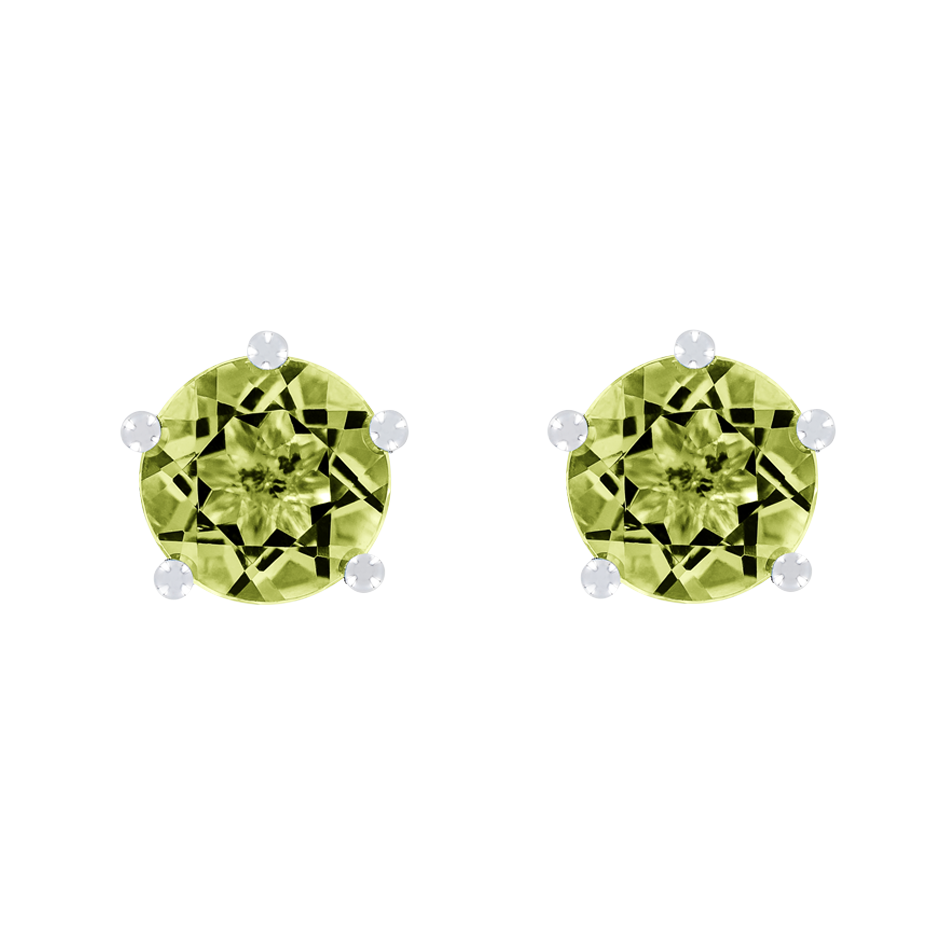 Stud Earrings 5 Prongs Peridot green in White Gold