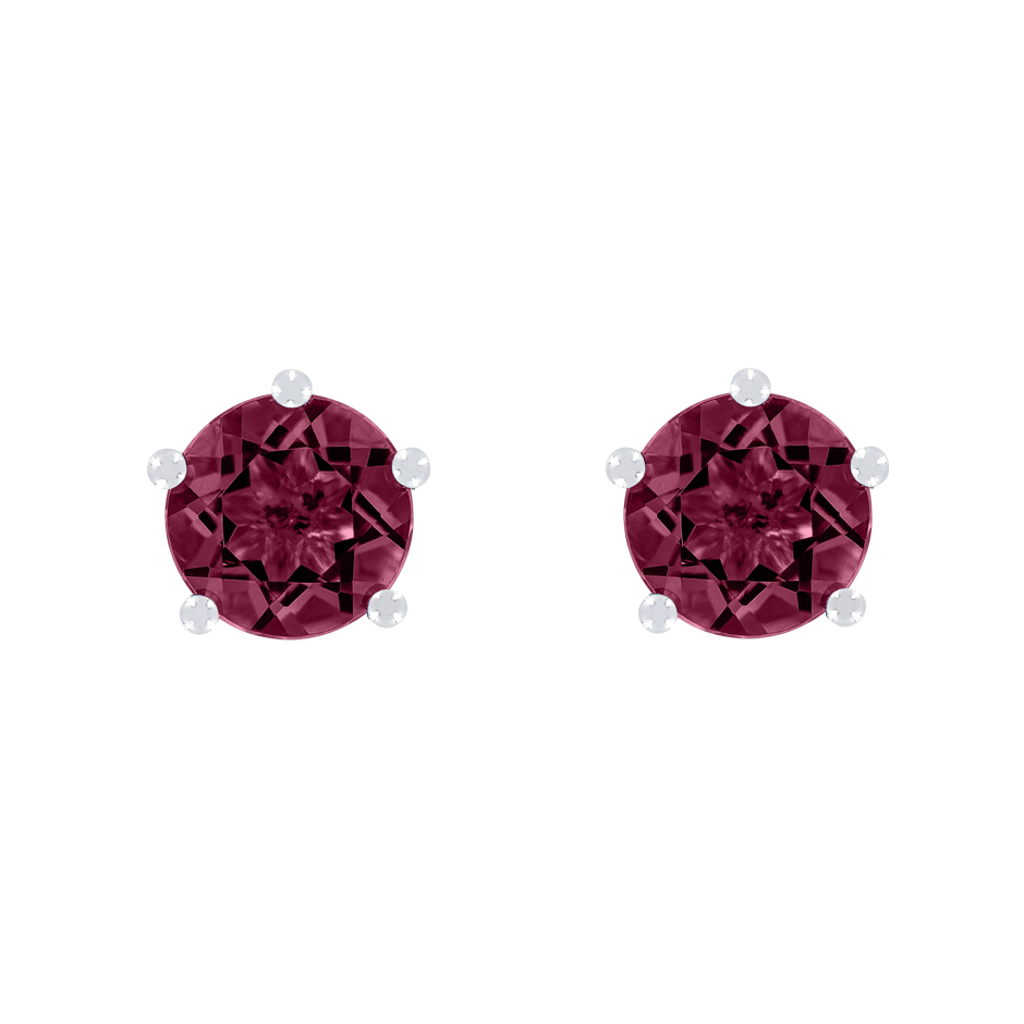 Stud Earrings 5 Prongs Rhodolite red in Platinum