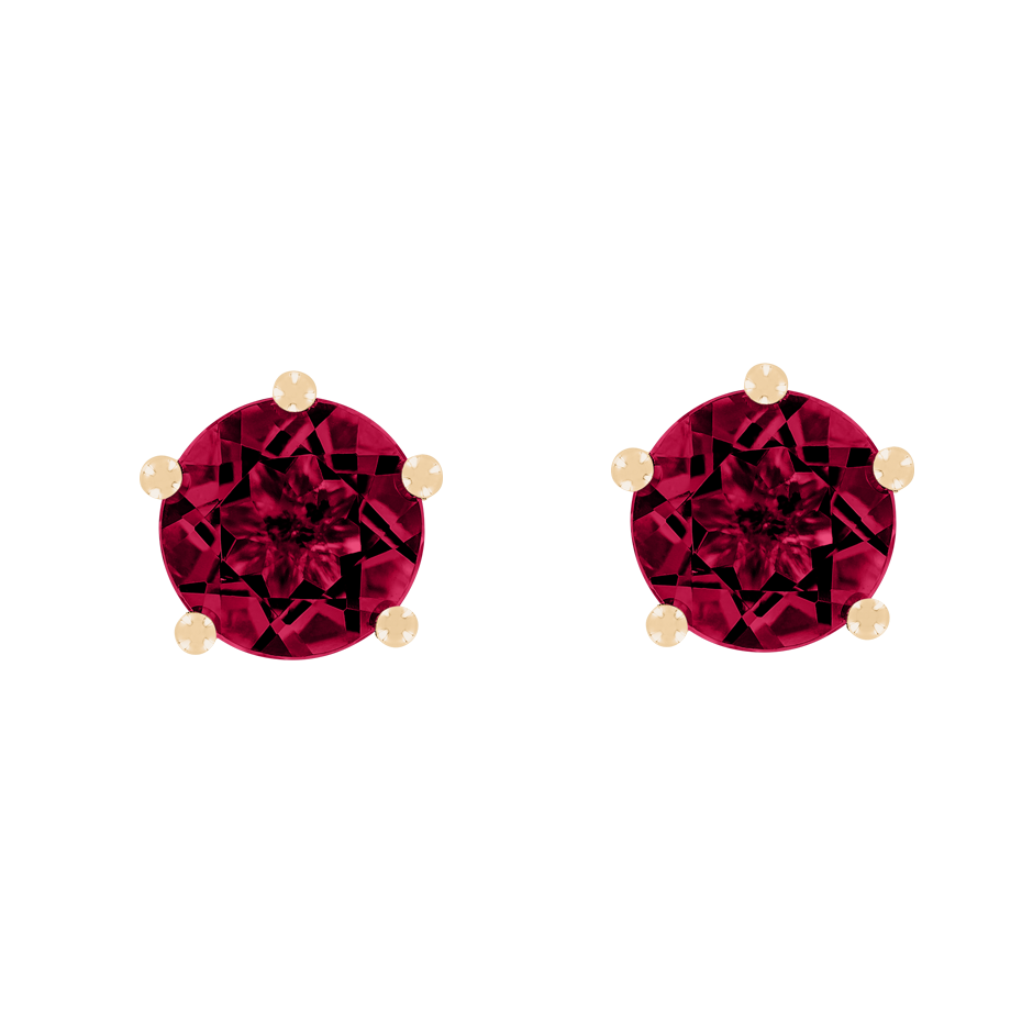 Stud Earrings 5 Prongs Ruby red in Rose Gold