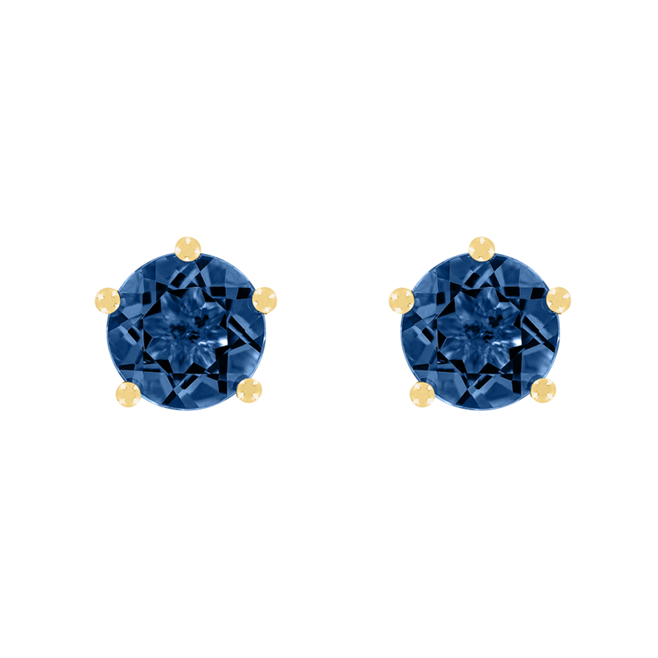 Stud Earrings 5 Prongs Sapphire blue in Yellow Gold