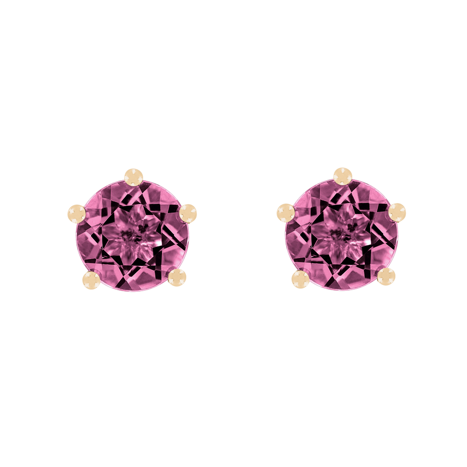 Stud Earrings 5 Prongs Tourmaline pink in Rose Gold
