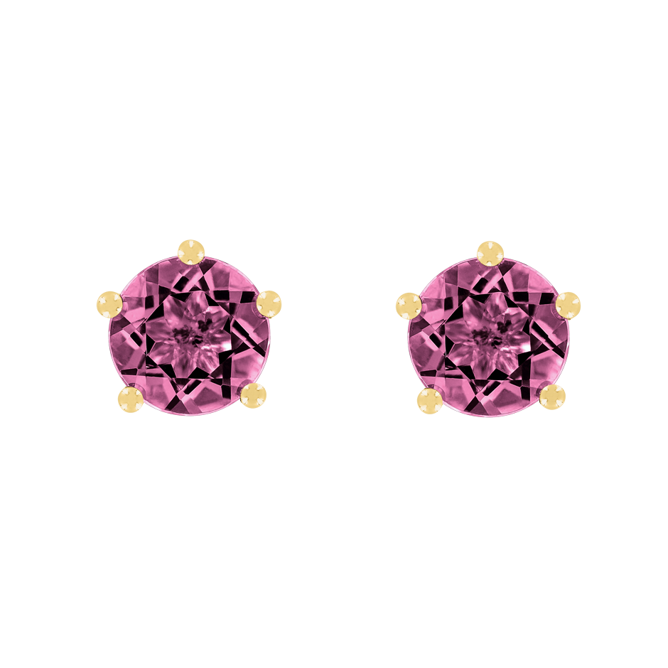 Stud Earrings 5 Prongs Tourmaline pink in Yellow Gold
