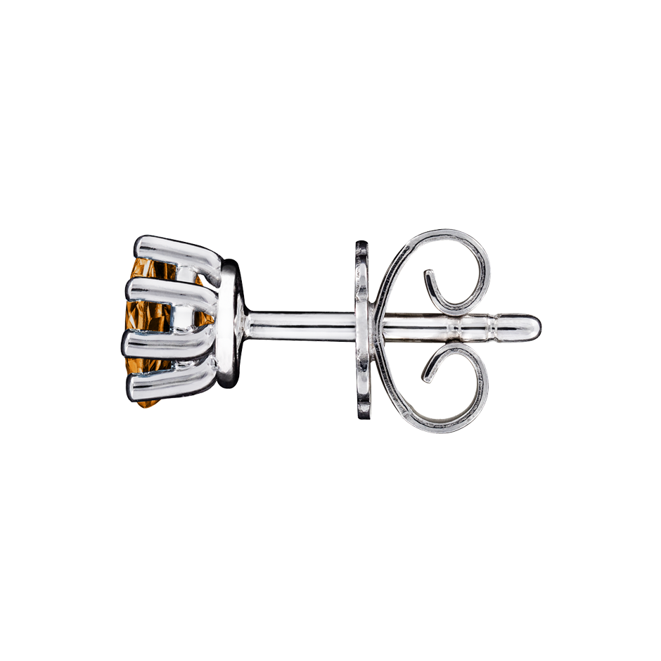 Stud Earrings 6 Prongs Madeira Citrine orange in White Gold