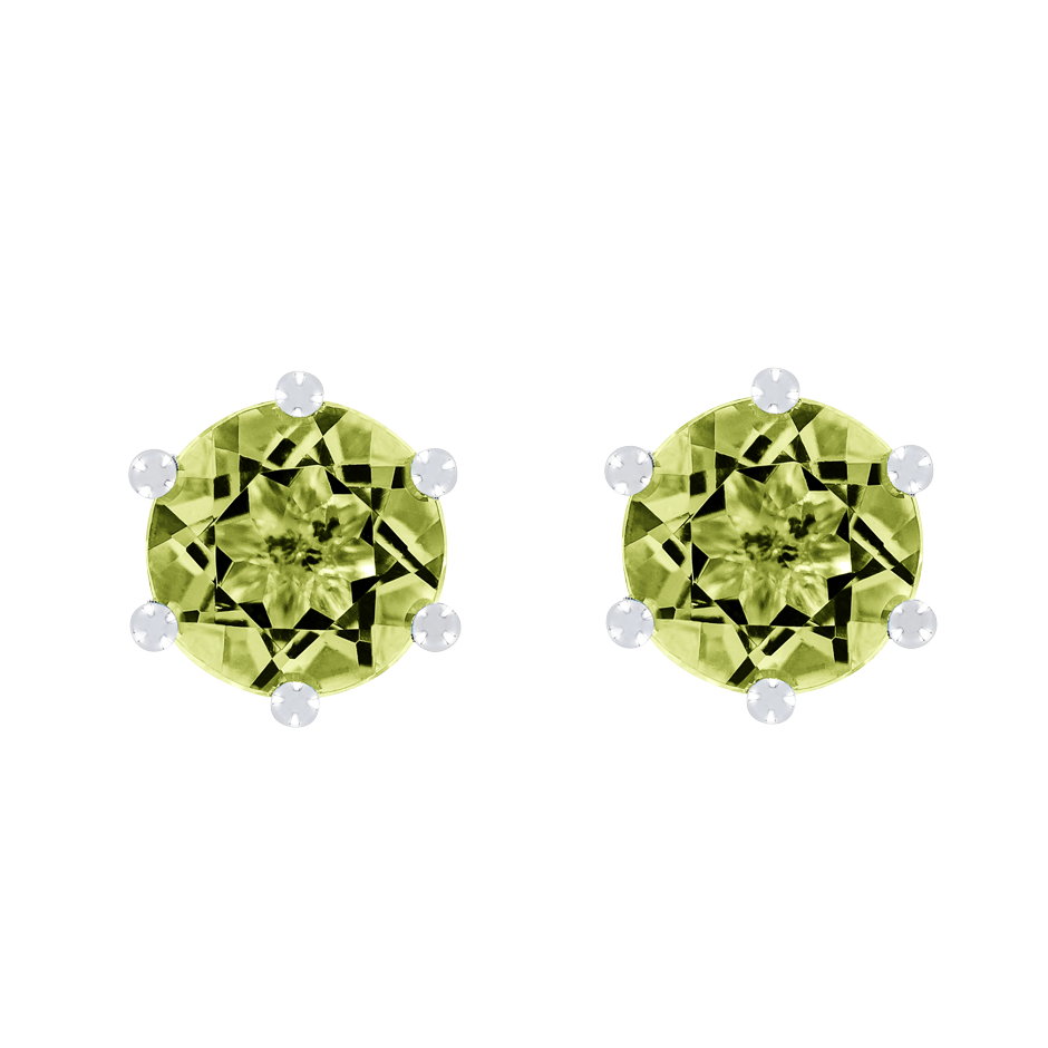 Stud Earrings 6 Prongs Peridot green in Platinum
