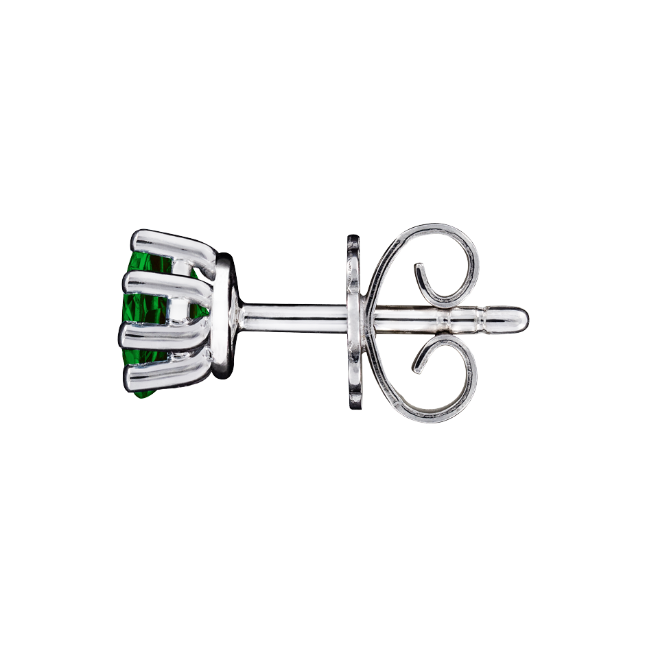 Stud Earrings 6 Prongs Tourmaline green in White Gold