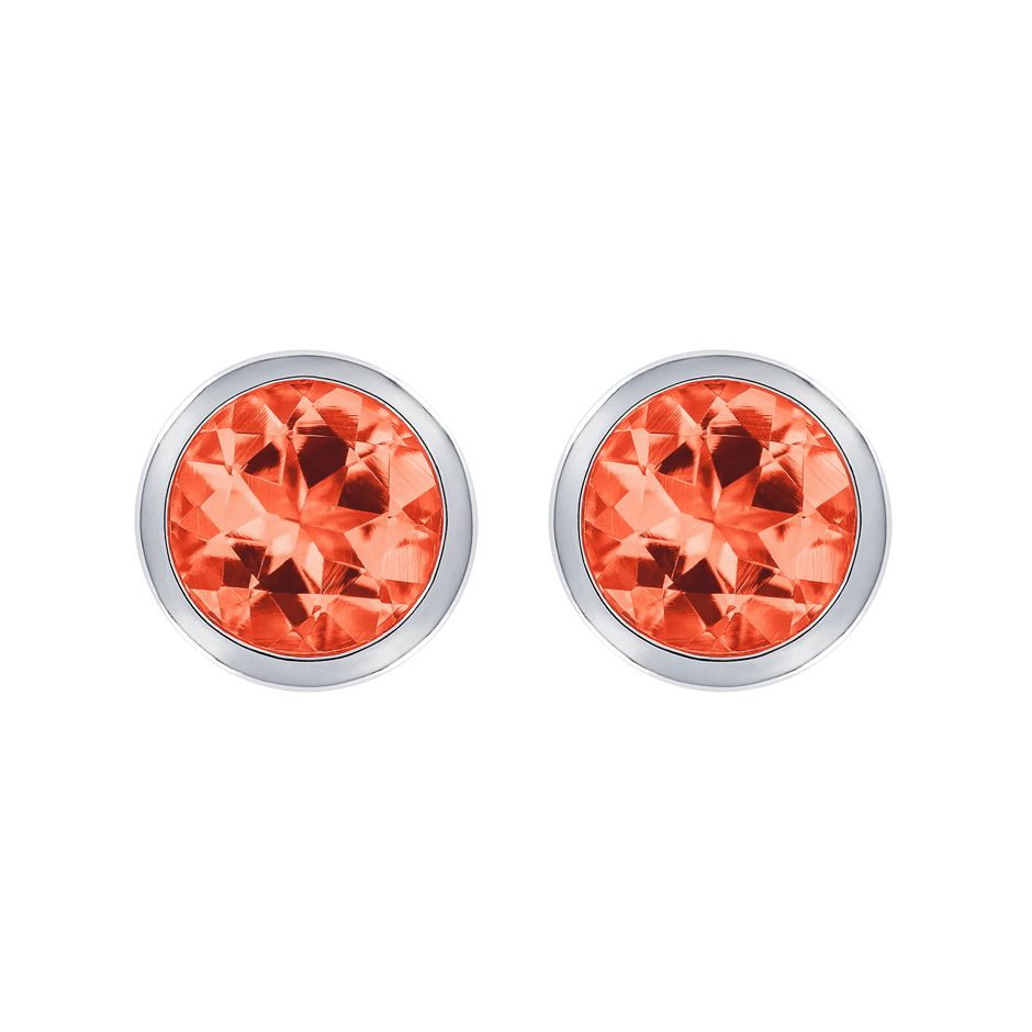 Stud Earrings Bezel Fire Opal orange in Platinum