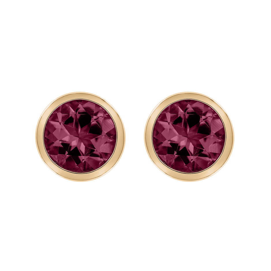 Stud Earrings Bezel Rhodolite red in Rose Gold