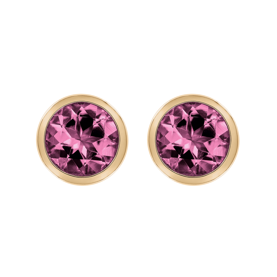 Stud Earrings Bezel Tourmaline pink in Rose Gold