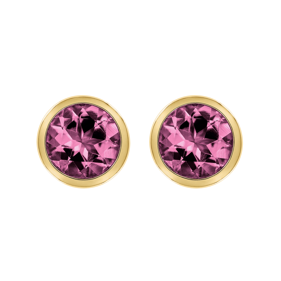 Stud Earrings Bezel Tourmaline pink in Yellow Gold