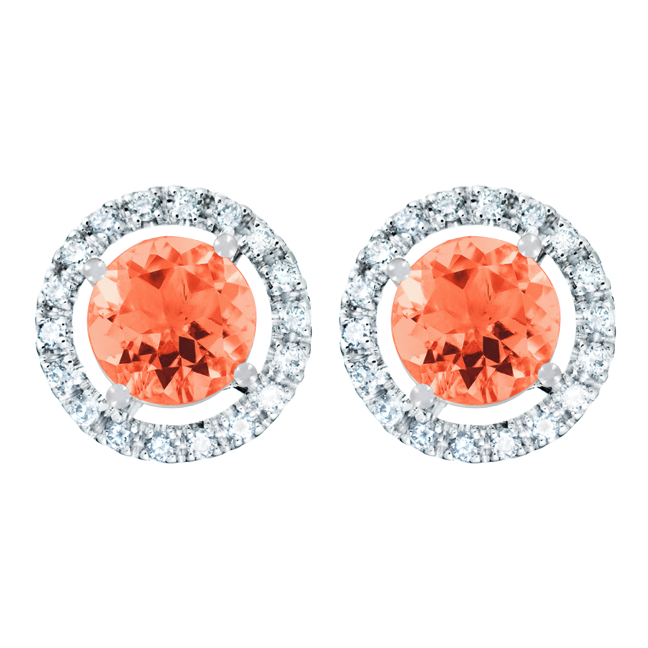 Stud Earrings Halo Fire Opal orange in Platinum