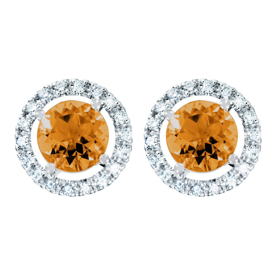 Stud Earrings Halo Madeira Citrine orange in Platinum