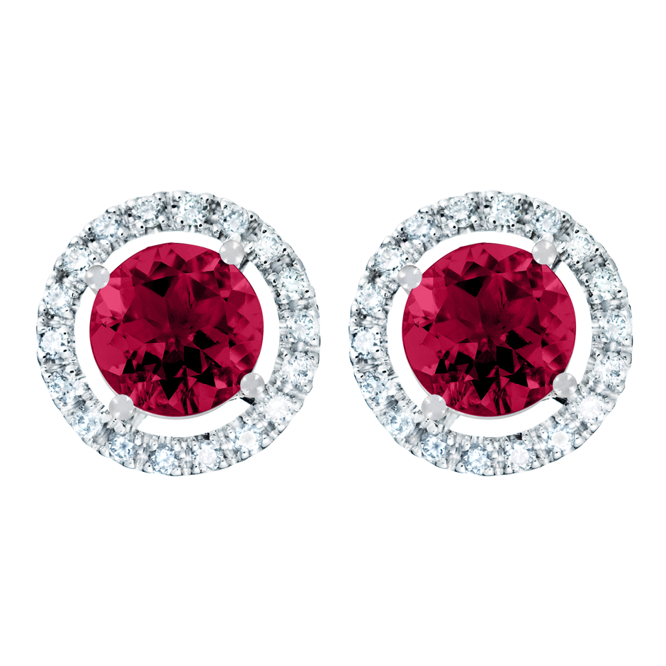 Stud Earrings Halo Ruby red in White Gold