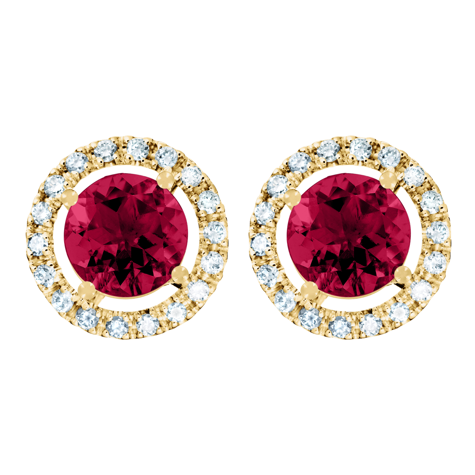 Stud Earrings Halo Ruby red in Yellow Gold