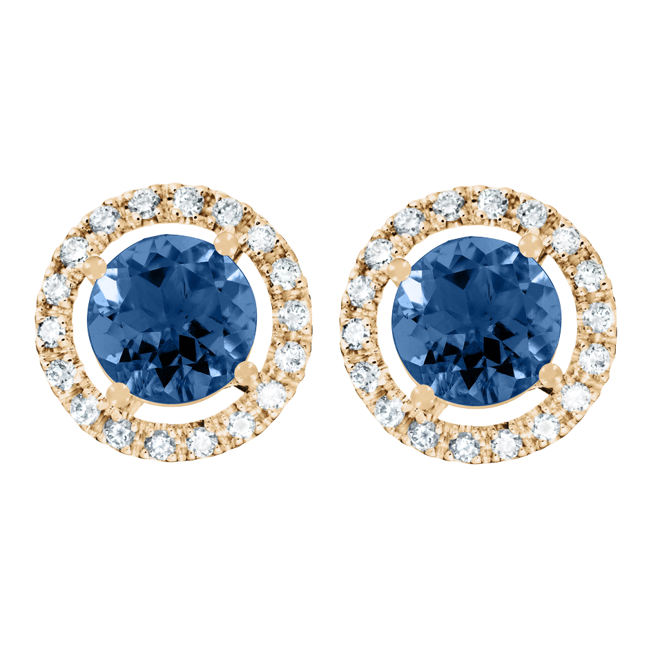 Stud Earrings Halo Sapphire blue in Rose Gold
