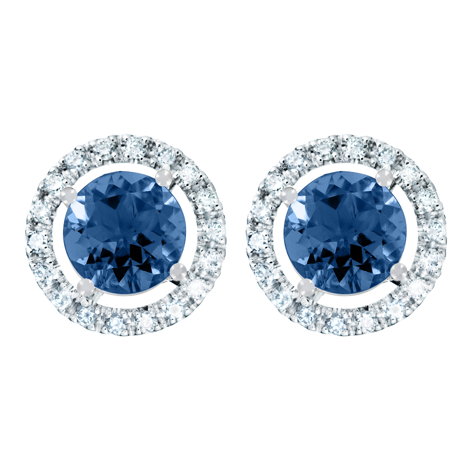 Stud Earrings Halo Sapphire blue in White Gold