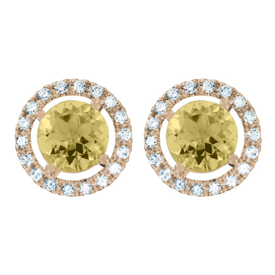 Stud Earrings Halo Sapphire yellow in Rose Gold