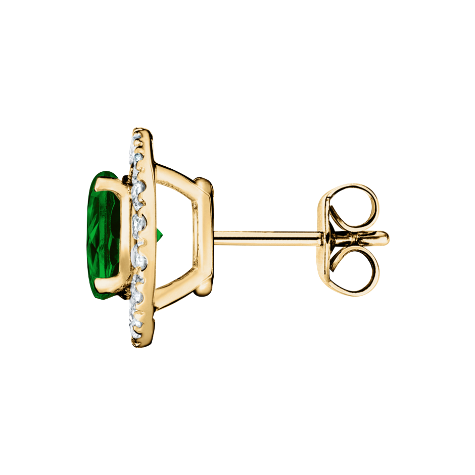 Stud Earrings Halo Tourmaline green in Yellow Gold