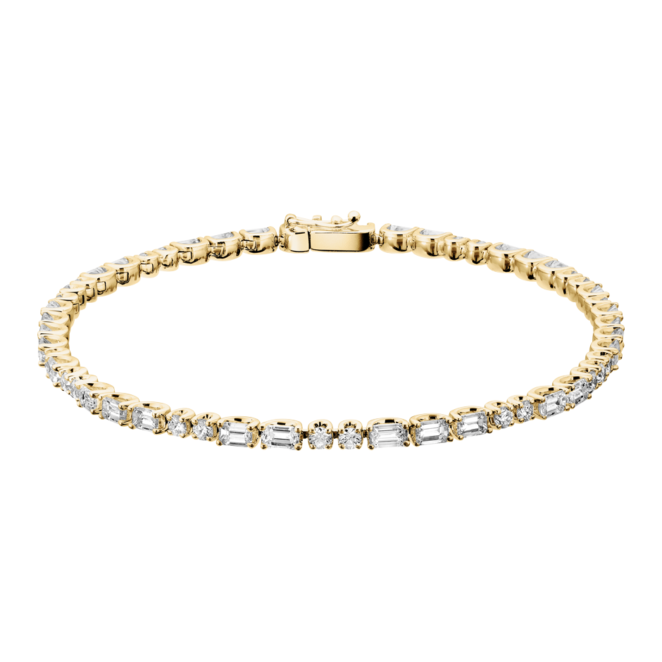 Tennis Bracelet Emerald in Yellow Gold
