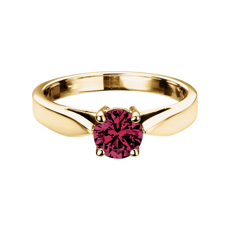 Vancouver Rhodolite red in Yellow Gold