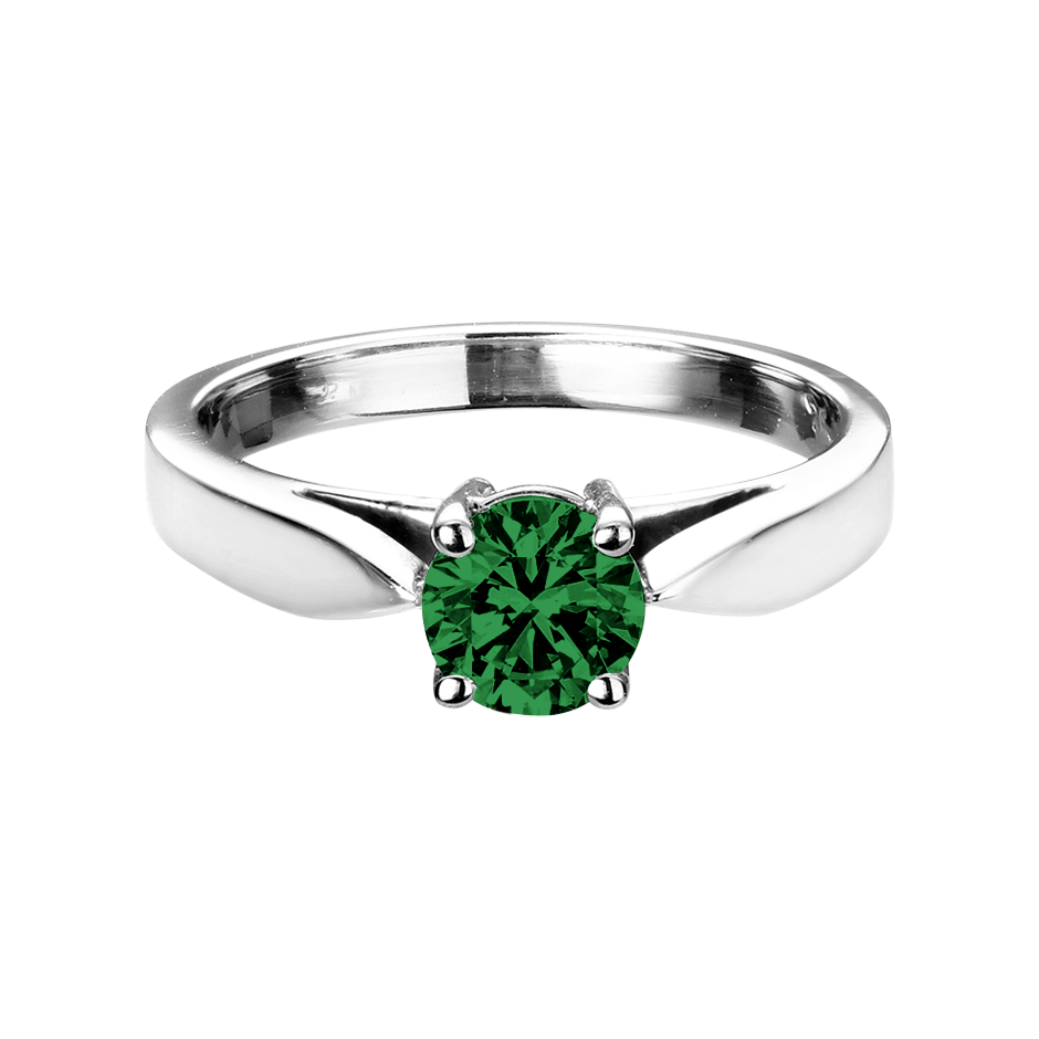Vancouver Tourmaline green in White Gold