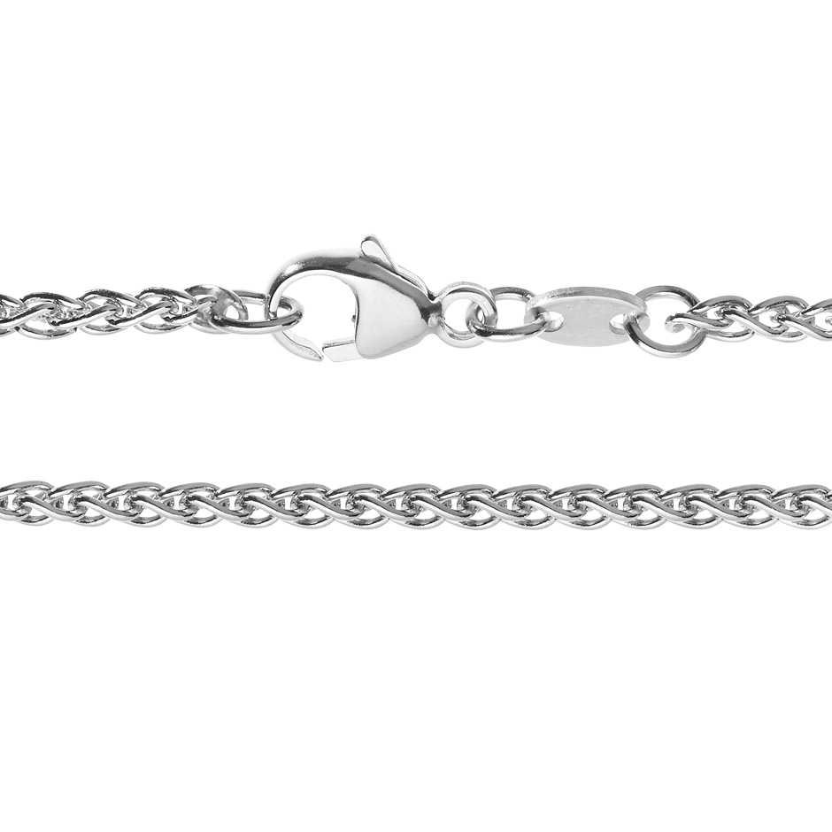 Wheat Chain Necklace in White Gold